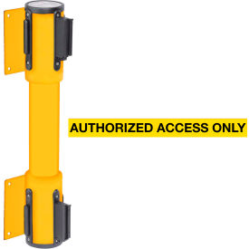 WallPro Twin Yellow Post Retracting Belt Barrier, 13 Ft. Yellow Authorized Belt