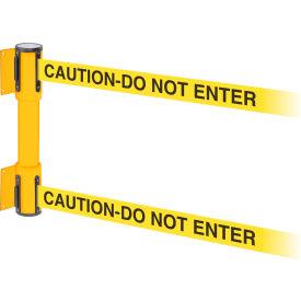 WallPro Twin Yellow Post Retracting Belt Barrier, 13 Ft. Yellow Caution Belt
