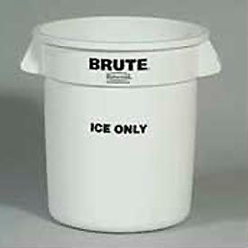 """Rubbermaid Commercial FG9F8600WHT, Brute® """"Ice Only"""" Container - Pkg Qty 6"""