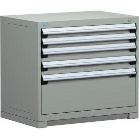 "Rousseau Metal Heavy Duty Modular Drawer Cabinet 5 Drawer Bench High 36""W - Light Gray"