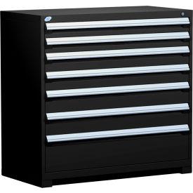 "Rousseau Metal Heavy Duty Modular Drawer Cabinet 7 Drawer Counter High 48""W - Black"