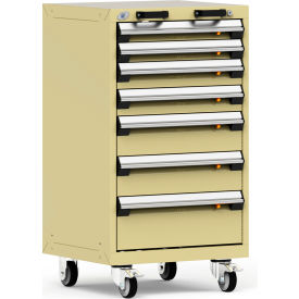"Rousseau Metal 7 Drawer Heavy-Duty Mobile Modular Drawer Cabinet - 24""Wx21""Dx43-1/4""H Black"