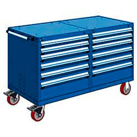 "Rousseau 12 Drawer Heavy-Duty Double Mobile Modular Drawer Cabinet - 48""x27""x37-1/2"" Avalanche Blue"