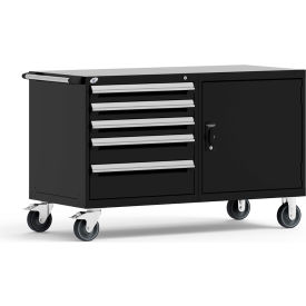"""Rousseau 5 Drawer Heavy-Duty Double Mobile Modular Drawer Cabinet - 60""""Wx27""""Dx37-1/2""""H Black"""