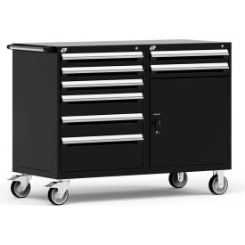 "Rousseau 8 Drawer Heavy-Duty Double Mobile Modular Drawer Cabinet - 60""Wx27""Dx45-1/2""H Black"