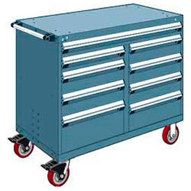 """Rousseau Metal 9 Drawer Mobile Multi-Drawer Cabinet - 48""""Wx27""""Dx41-1/2""""H Everest Blue"""