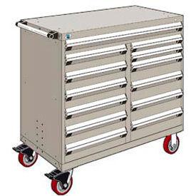 "Rousseau Metal 13 Drawer Mobile Multi-Drawer Cabinet - 48""Wx27""Dx45-1/2""H Light Gray"