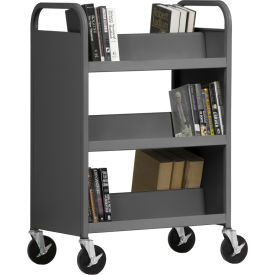 Sandusky® SV336 Double-Sided Slant 6 Shelf Steel Book Cart 37x18 - Charcoal