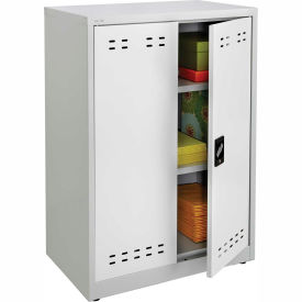 """""""Safco® Counter Height Steel Storage Cabinet 30""""""""W x 18""""""""D x 42""""""""H, Gray"""""""
