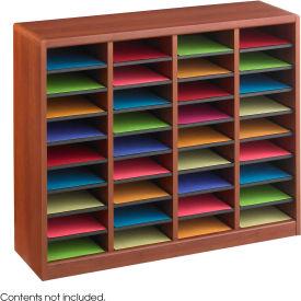 36 Compartment Wooden Literature Organizer - Cherry