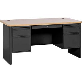 "Sandusky Heavy Duty Teachers Desk - Double Pedestal - 60""Wx30""D - Black/Maple - 700 Series"