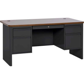 "Sandusky Heavy Duty Teachers Desk - Double Pedestal - 60""Wx30""D - Black/Medium Oak - 700 Series"