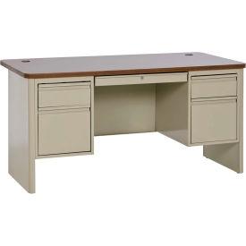 "Sandusky Heavy Duty Teachers Desk - Double Pedestal - 60""Wx30""D - Putty/Medium Oak - 700 Series"