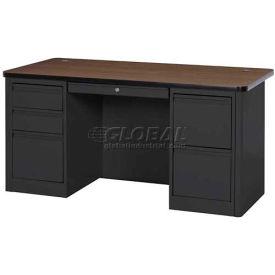 """Sandusky Heavy Duty Teachers Desk - Double Pedestal - 60""""W x 30""""D - Black/Walnut - 900 Series"""