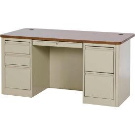 "Sandusky Heavy Duty Teachers Desk - Double Pedestal - 60""W x 30""D - Putty/Medium Oak - 900 Series"