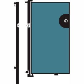 Screenflex 6'H Door - Mounted to End of Room Divider - Vinyl-Blue Tide