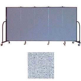 "Screenflex 5 Panel Portable Room Divider, 5'H x 9'5""L, Vinyl Color: Blue Tide"