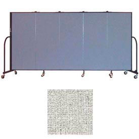 "Screenflex 5 Panel Portable Room Divider, 5'H x 9'5""L, Vinyl Color: Granite"