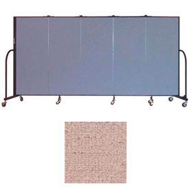 "Screenflex 5 Panel Portable Room Divider, 5'H x 9'5""L, Vinyl Color: Raspberry Mist"