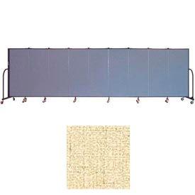 "Screenflex 9 Panel Portable Room Divider, 5'H x 16'9""L, Vinyl Color: Hazelnut"