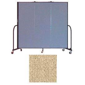 """Screenflex 3 Panel Portable Room Divider, 6'H x 5'9""""L, Vinyl Color: Sandalwood"""