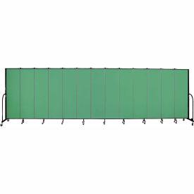"""Screenflex 13 Panel Portable Room Divider, 6'8""""H x 24'1""""L, Fabric Color: Sea Green- Pkg Qty 1"""