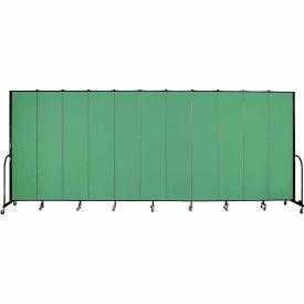 "Screenflex 11 Panel Portable Room Divider, 8'H x 20'5""L, Fabric Color: Sea Green"