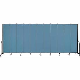 "Screenflex 11 Panel Portable Room Divider, 8'H x 20'5""L, Fabric Color: Blue"