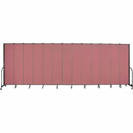 "Screenflex 13 Panel Portable Room Divider, 8'H x 24'1""L, Fabric Color: Rose"