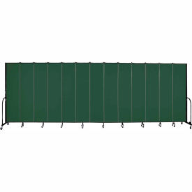 "Screenflex 13 Panel Portable Room Divider, 8'H x 24'1""L, Fabric Color: Mallard"