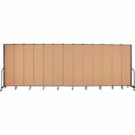 "Screenflex 13 Panel Portable Room Divider, 8'H x 24'1""L, Fabric Color: Wheat"