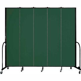 "Screenflex 5 Panel Portable Room Divider, 8'H x 9'5""L, Fabric Color: Green"
