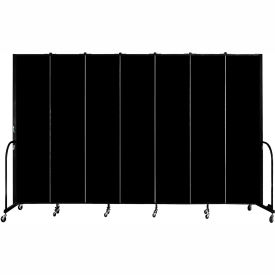 "Screenflex 7 Panel Portable Room Divider, 8'H x 13'1""L, Fabric Color: Charcoal Black"