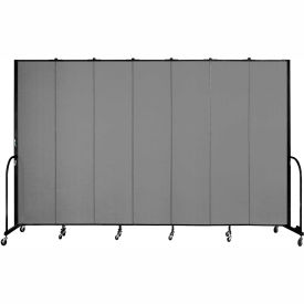 "Screenflex 7 Panel Portable Room Divider, 8'H x 13'1""L, Fabric Color: Grey"