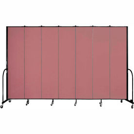 "Screenflex 7 Panel Portable Room Divider, 8'H x 13'1""L, Fabric Color: Mauve"