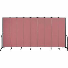 "Screenflex 9 Panel Portable Room Divider, 8'H x 16'9""L, Fabric Color: Rose"