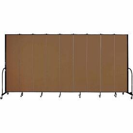"Screenflex 9 Panel Portable Room Divider, 8'H x 16'9""L, Fabric Color: Walnut"