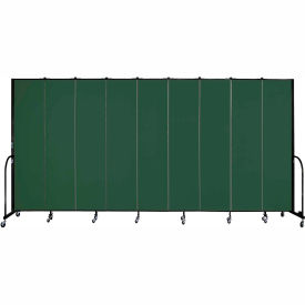 "Screenflex 9 Panel Portable Room Divider, 8'H x 16'9""L, Fabric Color: Green"