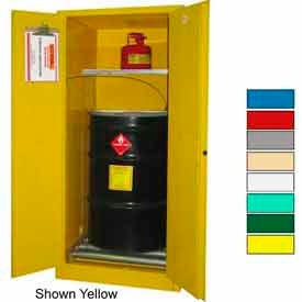Securall® Drum Cabinet 60 Gal. Capacity Vertical Manual Close Hazmat Flammable W/ Drum Rollers