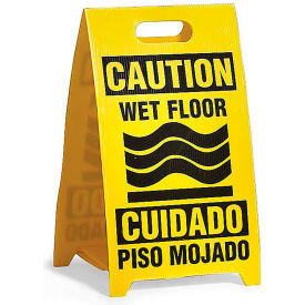 See All Plastic Floor Stand Sign - Bi-Lingual Wet Floor