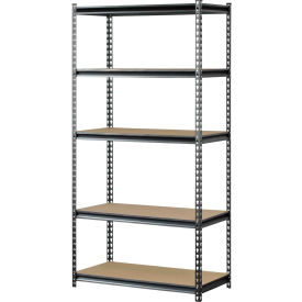 "Muscle Rack UR482472PB5P-SV, Z-Beam Boltless Shelving, 48""W x 24""D x 72""H, 5-Shelf w/Wood Deck"