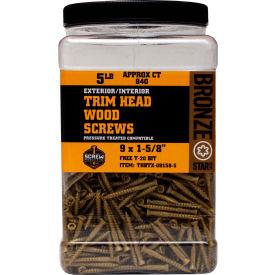 """#9 Bronze Star THBTX-09400-5 Trim Head Star Drive Screws, 4""""T20L, 5lb. Carton - Made In USA"""