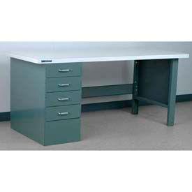 "Stackbin Workbench, Pedestal Bench # 2-23, Plastic Laminate Square Edge, 60""W X 30""D, Gray"