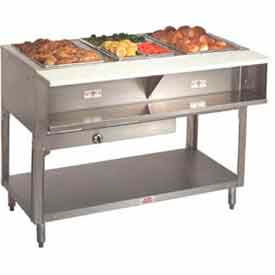"Water Bath Hot Food Table, Lp Gas, 78.750""L (5)12"" x 20"", S/S Open Base"