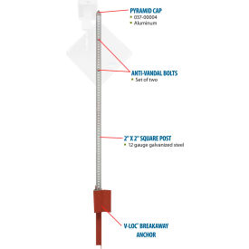 "Tapco® 373-90002 Pole Package with V-Loc® Soil Anchor, 2"" x 2"" x 10'"