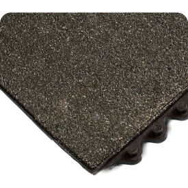 "Wearwell® 24/Seven Solid CFR w/Gritshield Anti-Fatigue Mat, 5/8"" Thk, 3'X3', Solid Tile, Blk"