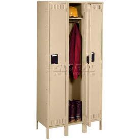 Tennsco Steel Locker STK-121560-3-LGY - Single Tier w/Legs 3 Wide 12x15x60 Unassembled, Grey