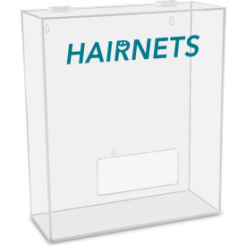 "TrippNT™ Hairnets Labeled Medium Apparel Dispenser, 15""W x 6""D x 18""H, Clear"