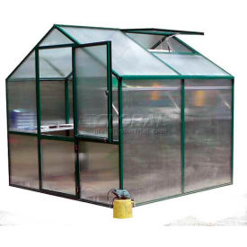 "Rose 2 Greenhouse, Aluminum & Polycarbonate, 54Sq/Ft, 7'L X 7' 8""W X 7'H, Green"