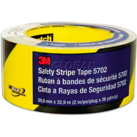 """3M™ 5702 Caution Stripe Tape, 2""""W x 108'L, Black/Yellow, 1 Roll"""